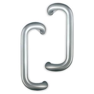 "International Door Closers PH-4000-2-10-AL International 10"" Solid Aluminum Offset Pull Set For Storefront Doors Anodized Dull Aluminum"