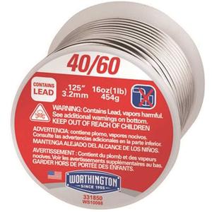 Worthington 331850 16 oz. 0.125 in. 40/60 Leaded Solder