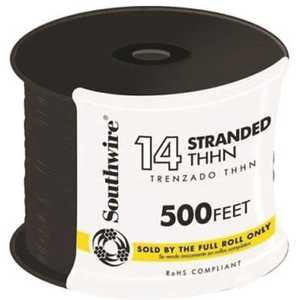 Southwire 22955958 500 ft. 14-Gauge Black Stranded CU THHN Wire