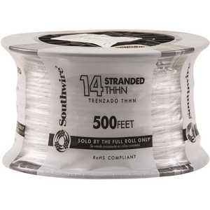 Southwire 22956758 500 ft. 14-Gauge White Stranded CU THHN Wire