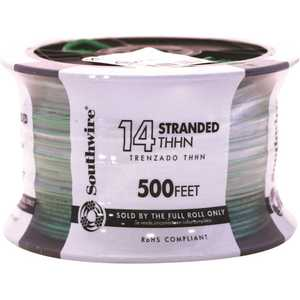 Southwire 22959158 500 ft. 14-Gauge Green Stranded CU THHN Wire