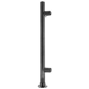 "CRL PP56LBL Black Powder Paint 18"" High 1"" Round PP56 Slimline Series Straight Front Counter/Partition Corner Post"