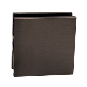 Oil Rubbed Bronze Square Style Hole-in-Glass Fixed Panel U-Clamp