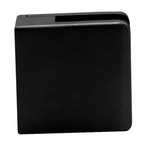 """Matte Black Z-Series Square Type Flat Base Stainless Steel Clamp for 3/8"""" Glass"""