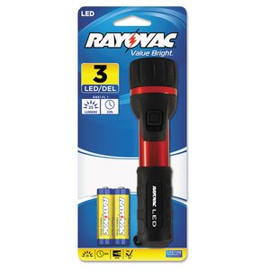 RAY-O-VAC RAY2AALEDB Flashlight, Rubber & Aluminum, 3 V, LED, Red/Black, 2 AA