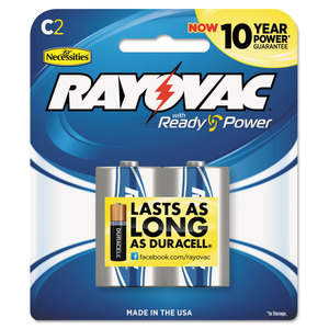 RAY-O-VAC RAY8142K High Energy Premium Alkaline Battery, C, 2/Pack