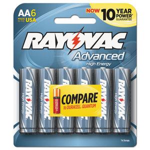 RAY-O-VAC RAY8156FUSJ Alkaline High Energy Batteries, AA, 6/Pk