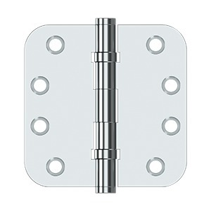 "Deltana DSB4R5B26 4"" x 4"" x 5/8"" Radius Hinges, Ball Bearing in Polished Chrome"