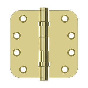 "Deltana DSB4R5B3 4"" x 4"" x 5/8"" Radius Hinges, Ball Bearing in Polished Brass"