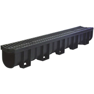 U.S. TRENCH DRAIN 83300 Deep Series 5.4 in. W x 5.4 in. D x 39.4 in. L Channel and Grate with Bottom Outlet with Black Grate