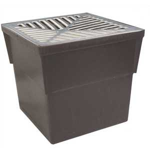 U.S. TRENCH DRAIN 80071 14 in. x 14 in. Storm Water Pit and Catch Basin for Modular Trench and Channel Drain Systems with Aluminum Grate