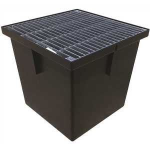 U.S. TRENCH DRAIN 80071G 13 in. Storm Water Pit and Catch Basin for Modular Trench and Channel Drain Systems with Galvanized Steel Grate