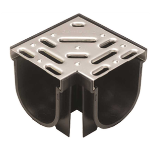 U.S. TRENCH DRAIN 83333 Deep Series 90 Corner for 5.4 in. Trench and Channel Drain System w/ Stainless Steel Grate
