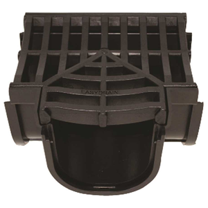 U.S. TRENCH DRAIN 83400 Deep Series Tee for 5.4 in. Trench and Channel Drain Systems w/ Black Grate