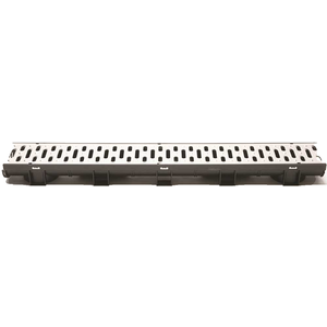 U.S. TRENCH DRAIN 83503 Compact Series 5.4 in. W x 3.2 in. D x 39.4 in. L Black Channel and Stainless Steel Grate with Bottom Outlet