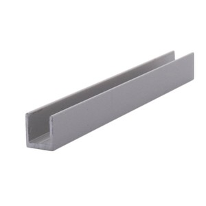 "CRL D631A Satin Anodized 1/4"" Single Aluminum U-Channel - 144"" Stock Length"