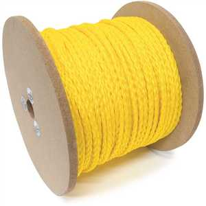 KingCord 644731 1/4 in. x 1,000 ft. Polypropylene Hollow Core Braided Barrier Rope, Yellow