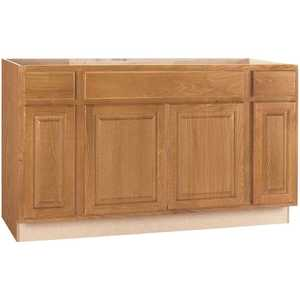 Hampton Bay KSB60-MO Hampton Assembled 60x34.5x24 in. Sink Base Kitchen Cabinet in Medium Oak