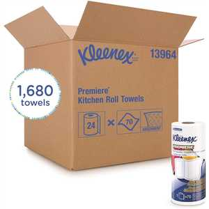 KLEENEX 13964 Cloth-Like Perforated Towels Premier Kitchen Paper Towels (, 70 Paper Towels/Roll)