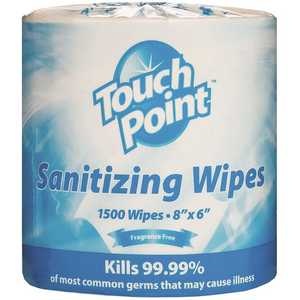 TouchPoint WS1500FF Premium Fragrance Free Sanitizing Disinfecting Wipes (1500 sheets per Pack,)