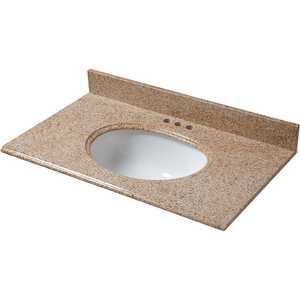 Pegasus 79682 37 in. x 22 in. Granite Vanity Top in Beige with White Bowl and 4 in. Faucet Spread