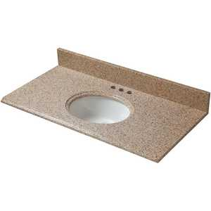 Pegasus 25198 25 in. x 19 in. Granite Vanity Top in Beige with White Bowl and 4 in. Faucet Spread