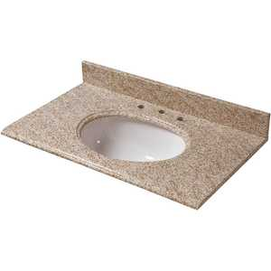 Pegasus 31992 31 in. W Granite Vanity Top in Golden Hill with White Bowl and 8 in. Faucet Spread