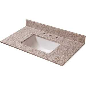 Pegasus 27992 37 in. W Granite Vanity Top in Golden Hill with Trough Sink and 8 in. Faucet Spread