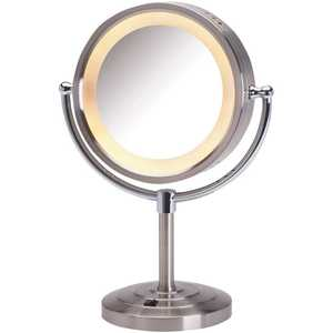 Jerdon HL745NC 8.5 in. Dia 5X-1X Halo Lighted Table Top Makeup Mirror in Nickel