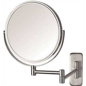 Jerdon JP7506N 8 in. Dia Single Wall Mounted Makeup Mirror in Nickel
