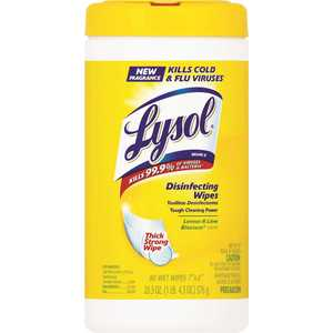 LYSOL 77182/58347182 SURFACE SANITIZING WIPES, CITRUS SCENT, 80 WIPES PER CANISTER