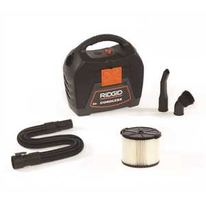 RIDGID WD0319 3 Gal. 18-Volt Cordless Handheld Wet/Dry Shop Vacuum (Tool Only) with Filter, Expandable Hose and Accessories