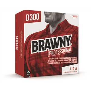 BRAWNY 20075 Professional D300 White Disposable Cleaning Towel, Tall Box
