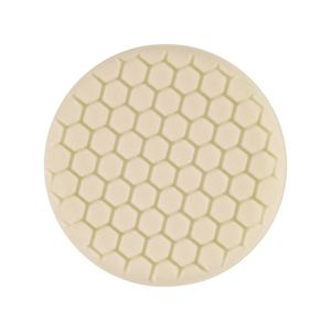 Buff and Shine 629RH White foam grip pad with hex face pattern and center ring