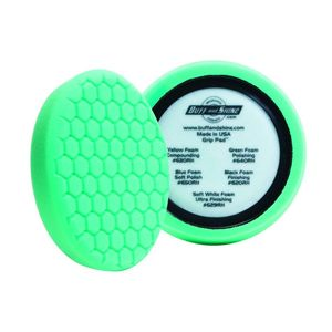 Buff and Shine 640RH Green foam grip pad with hex face pattern and center ring