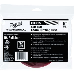 Meguiar's DFC5 DFC5 Dual Action Cutting Disc, 5 in Dia, Hook and Loop Attachment, Foam Pad, Red