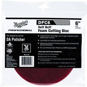 Meguiar's DFC6 DFC6 Dual Action Cutting Disc, 6 in Dia, Hook and Loop Attachment, Foam Pad, Red