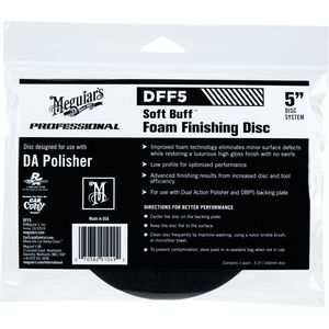 Meguiar's DFF5 DFF5 Dual Action Finishing Disc, 5 in Dia, Hook and Loop Attachment, Foam Pad, Black
