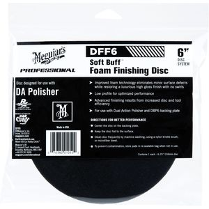 Meguiar's DFF6 DFF6 Dual Action Finishing Disc, 6 in Dia, Hook and Loop Attachment, Foam Pad, Black