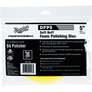 Meguiar's DFP5 DFP5 Dual Action Polishing Disc, 5 in Dia, Hook and Loop Attachment, Foam Pad, Yellow