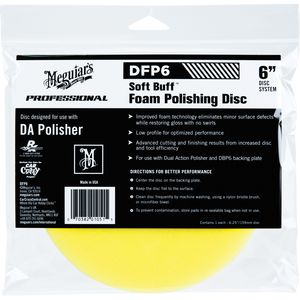 Meguiar's DFP6 DFP6 Dual Action Polishing Disc, 6 in Dia, Hook and Loop Attachment, Foam Pad, Yellow
