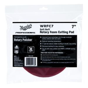 Meguiar's WRFC7 WRFC7 Rotary Cutting Pad, 7 in Dia, Hook and Loop Attachment, Foam Pad, Red