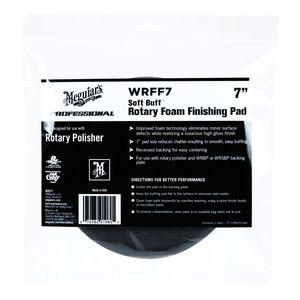 Meguiar's WRFF7 WRFF7 Rotary Finishing Pad, 7 in Dia, Hook and Loop Attachment, Foam Pad, Black