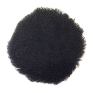 Norton® 63642503670 03670 Buffing Pad, 3 in Dia, Hook and Loop Attachment, Natural Lambswool Pad, Black