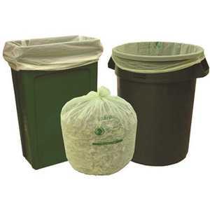 Natur-Bag NT1025-X-00014 33 Gal. 33 in. x 40 in. 0.8 mil Green Compostable Trash Bags Slim Liner