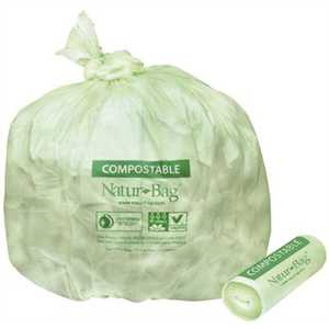 Natur-Bag NT1025-X-00010 13 gal. Compostable Trash Bags, 23.5 in. x 29 in., 0.8 MIL, Green