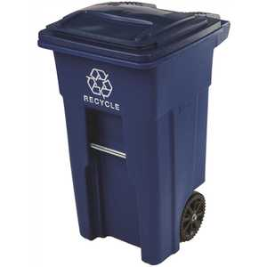 Toter 79232-R2705 32 Gal. Blue Rollout Recycling Container with Attached Lid