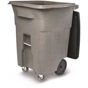 Toter ACC96-01GST 96 Gal. Graystone Trash Can with Wheels and Lid (2 caster wheels 2 stationary wheels)
