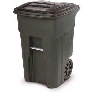 Toter ANA48-51406 48 Gal. Trash Can Greenstone with Quiet Wheels and Lid