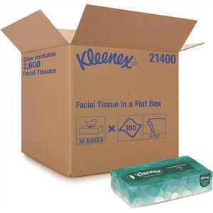 KLEENEX 21400 Facial Flat Tissue Boxes (, 100 Tissues/Box)
